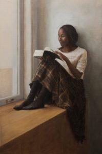 Lezende vrouw in het venster